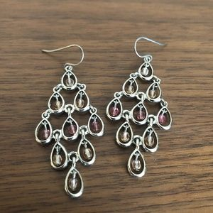 Light pink and peach chandelier silver earrings